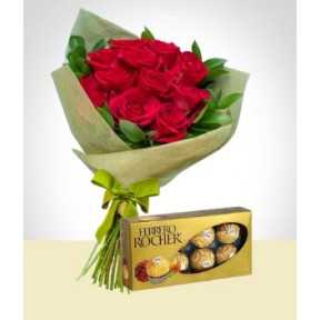 Tradition Combo: 12 Roses Bouquet + Ferrero Rocher Chocolates Box