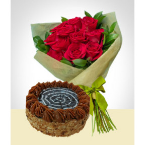 Refinement Combo: Cake + 12 Roses Bouquet: