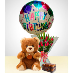 Birthday Combo A : 12 Roses Bouquet + Bear + Chocolates + Happy Birthday Balloon