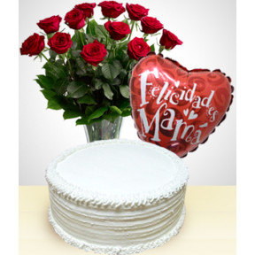 Happy Mother's Day Combo: Cake + 12 Roses Bouquet + Balloon