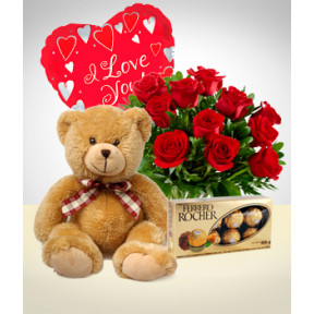Fullness Combo: 12 Roses + Teddy Bear + Balloon + Chocolates