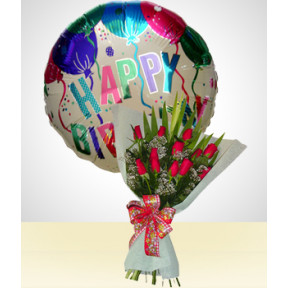 Birthday Combo B: 12 Roses Bouquet + Happy Birthday Balloon