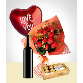 Inspiration Combo: 12 Roses Bouquet + Balloon + Wine + Chocolates