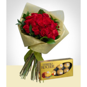 Love Wish: 24 Roses Bouquet & Chocolates