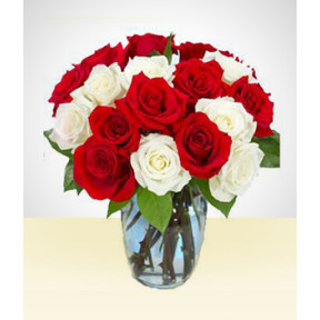 Pretty Smile: 18 Roses Bouquet White and Red