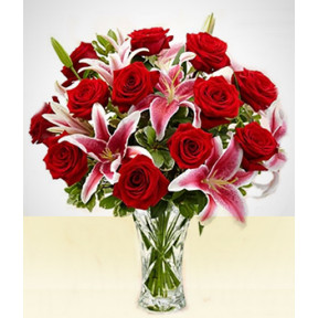 Lovable: Pink lilies and Red Roses