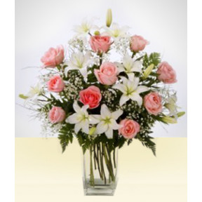 Friendship: White and Pink Lilies vase