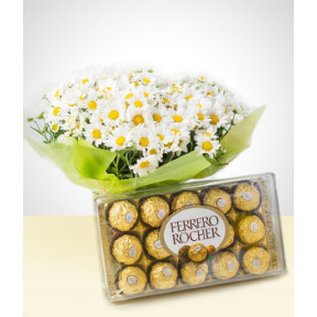 Blooming: Daisies + Chocolates Bouquet