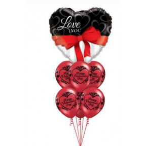Bouquet 141 Love You Red Ribbon Qualatex