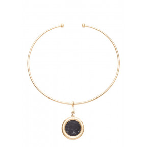 Black Marble Geometric Choker Necklace