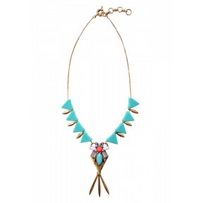 Geometric Triangle Statement Necklace In Mint