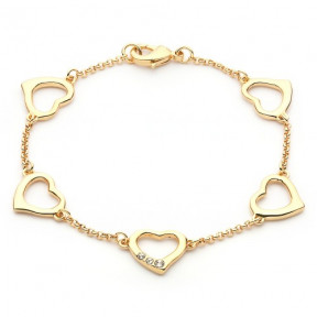 Linked Hearts Chain Bracelet with Swarovki Elements