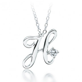 Letter H Name Initial Necklace with Cubic Zirconia