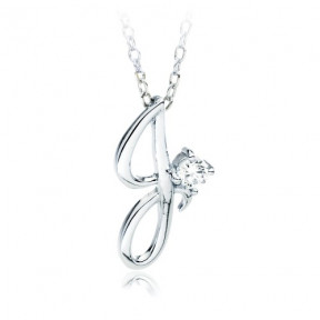 Letter J Name Initial Necklace with Cubic Zirconia