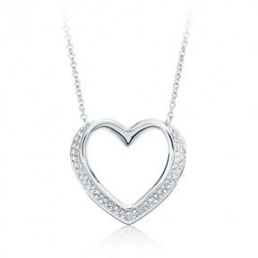 Cupidon Ribbon Heart Necklace with Clear SwarovskiÂr Crystal Rhodium Plated