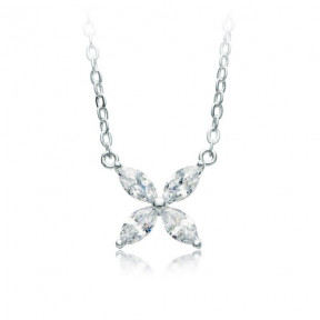 Victoria Flower Marquise CZ Necklace Rhodium Plated
