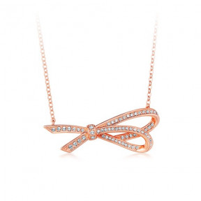Ribbon Bow Pendant with SwarovskiÂr Crystals Rose Gold Plated