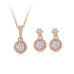 Elegance Round Drop Jewellery Set with SwarovskiÂr Crystals Rose Gold Plated