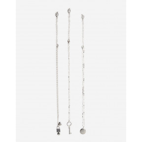 Set Of 3 Thin Necklaces With Key And Heart Charms
