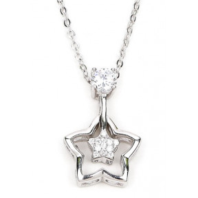 Two Open Star with Stone Design Necklace