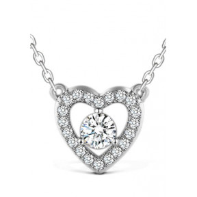 925 Sterling Silver Heart Pendant Zirconia Swarovski Element Necklace