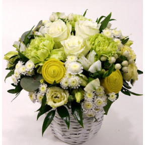 White Rose Ball - Flower Basket