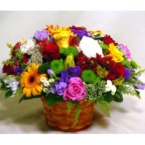 Brilliant flower basket with roses (Large)