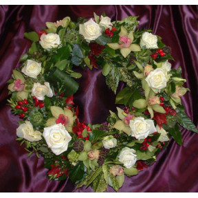 Greek wreath of orchids, roses and fruit with (Medium)