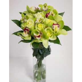 Green orchids with roses - Round bouquet (Medium)
