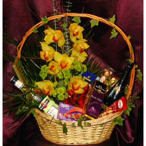 Gift Basket With Orchids