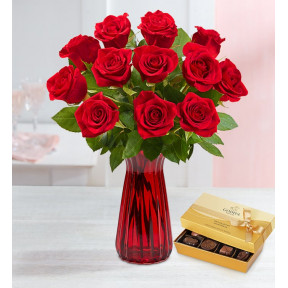 One Dozen Red Roses (with Red Vase)