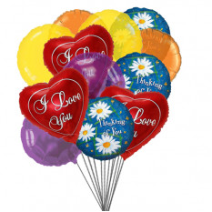 Thoughtful Balloons Bouquet (6-Mylar & 6-Latex Balloons)