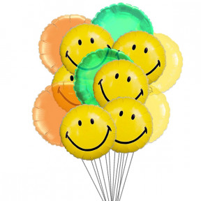 Wide smile balloons (6-Mylar & 6-Latex Balloons)