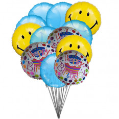 Smiley blue birthday balloons (6-Mylar & 6-Latex Balloons)