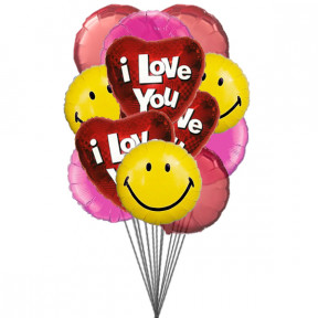 Red and pink heart balloons (6-Mylar & 6-Latex Balloons)