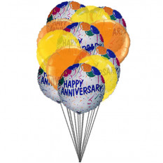 Balloons of wishing happy anniversary (6-Mylar & 6-Latex Balloons)