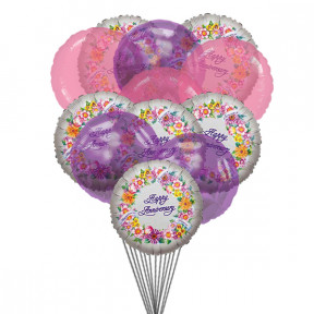 Cheerful anniversary balloons (6-Mylar & 6-Latex Balloons)
