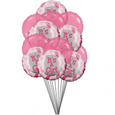 Girly Balloons (6-Mylar & 6-Latex Balloons)