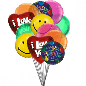 Birthday bash balloons full of love,smile & wishes (6-Mylar & 6-Latex Balloons)