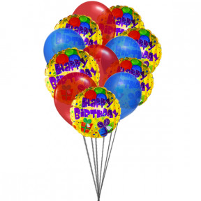 Colorfull Birthday Balloons (6 Latex & 6-Mylar Balloons)
