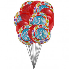 """Thank You"" Balloons (6-Mylar & 6-Latex Balloons)"