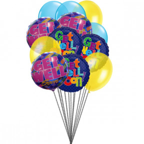 Bunch of Get well Soon Balloons (6-Mylar & 6-Latex Balloons)