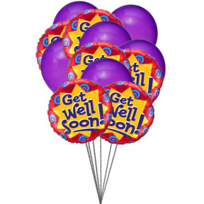 Purply getwell balloons (6-Mylar & 6-Latex Balloons)