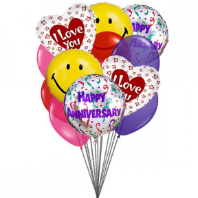 I love you anniversary balloons (6-Mylar & 6-Latex Balloons)