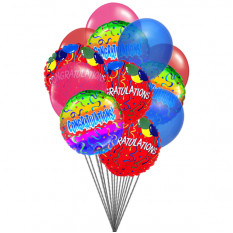 Congratulations with Balloons (6 Latex & 6-Mylar Balloons)