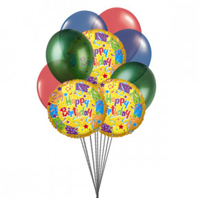 Bouquet of best birthday balloons (6 Latex Balloons & 3-Mylar Balloons)