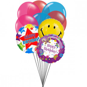 Birthday Party balloons (6 Latex & 3 Mylar Balloons)