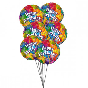 Balloons on Birthday    ( 6 Mylar Balloons )