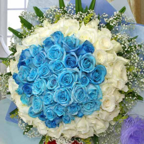 99 Roses  50 Blue 49 White Handbouquet
