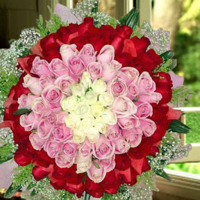 99 Roses  15 White 35 Peach 49 Red Hand Bouquet